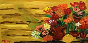 Primitive Raw Art Paintings - Flowers at the Side of the House by Mary Carol Williams