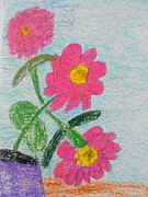 Awareness Pastels Posters - Flowers Poster by Epic Luis Art