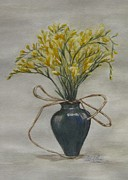 Formal Flower Paintings - Flowers by Ethel Rossi