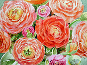 Watercolor Card Prints - Flowers Flowers Flowers Print by Irina Sztukowski