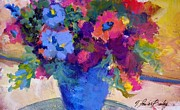 Therese Fowler-bailey Metal Prints - Flowers for a Blue Lady Metal Print by Therese Fowler-Bailey