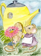 Mouse Drawings - Flowers for Mom by Eva Ason