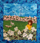Bright Tapestries - Textiles Originals - Flowers For Mom by Maureen Wartski