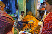 Karnataka Art - Flowers for sale at Devaraja Market in Mysore India by Robert Preston