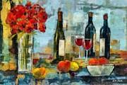 Wine Glasses Paintings - Flowers Fruit and Wine by Elizabeth Coats