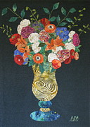 Art Glass Tapestries - Textiles - Flowers Gone Wild by Lynda K Boardman