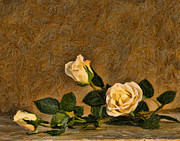 Antiquated Digital Art Posters - Flowers Impasto Poster by Ed Churchill