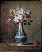 Blue And White Painting Prints - Flowers in a Blue and White Vase Print by Jean-Baptiste-Simeon Chardin
