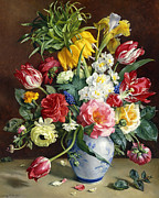 Flower Arrangement Paintings - Flowers in a Blue and White Vase by R Klausner