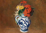 Flora Painting Prints - Flowers in a Blue Vase Print by Odilon Redon