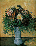 Blue Vase Painting Posters - Flowers in a Blue Vase Poster by Paul Cezanne