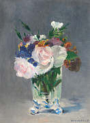Flowers In Vase Framed Prints - Flowers in a Crystal Vase Framed Print by Edouard Manet
