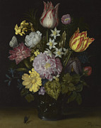Wan-li Prints - Flowers in a Glass Vase Print by Ambrosius Bosschaert the Elder