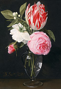 Rose Blooms Prints - Flowers in a Glass Vase Print by Daniel Seghers