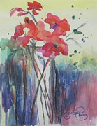 Cottonwood Paintings - Flowers In A Glass Vase by Jacqueline Pearson