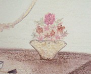 Desk Pastels Prints - Flowers in a Golden Vase Print by Christine Corretti
