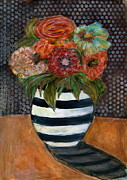 Janice Scherer - Flowers in a Striped Vase