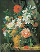 Beautiful Flowers Paintings - Flowers in a terra Cotta Vase by Jan Van Huysum