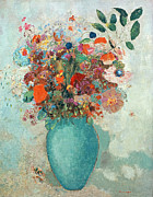 Floral Arrangement Prints - Flowers in a Turquoise Vase Print by Odilon Redon