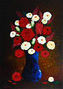 Shades Of Red Framed Prints - Flowers in a Vase Framed Print by Denisa Laura Doltu