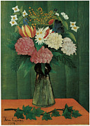 Julien Posters - Flowers in a Vase Poster by Henri Julien Rousseau