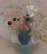 Floral Paintings - Flowers in a Vase by Odilon Redon