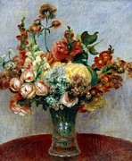 Impressionism Art Framed Prints - Flowers in a Vase Framed Print by Pierre-Auguste Renoir