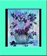 Vase Of Flowers Digital Art Prints - Flowers in a vase with Blue Border Print by Barbara Griffin