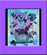 Vase Of Flowers Digital Art Prints - Flowers in a vase with Lilac Border Print by Barbara Griffin