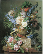 English Rose Posters - Flowers in an Alabaster Vase Poster by Gerard Van Spaendonck