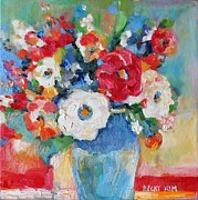 Becky Kim Framed Prints - Flowers in Blue Vase 1 Framed Print by Becky Kim