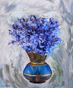 Flowers In Blue Vase Print by Mirjana Barkovic