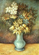 Oil On Canvas Drawings - Flowers in Blue Vase - Still Life by Peter Art Prints Posters Gallery