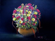 Yello Paintings - Flowers in Bronze Vase by Bobby Perkins