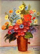 Janis  Tafoya - Flowers in Copper Pot