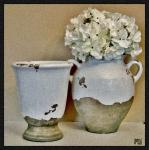 Flowers In European Pottery Print by Marsha Heiken