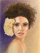 Race Pastels Originals - Flowers in Her Hair II. by Paula Steffensen