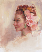 Flowers In Her Hair - Portrait Print by Talya Johnson