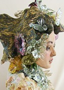 Clay Sculptures - Flowers in her hair by Tonja  Sell