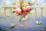 Travel Destinations Paintings - Flowers in honor of Venice by Dmitry Spiros