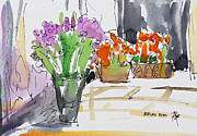 Becky Kim Artist Mixed Media Metal Prints - Flowers in Pots Metal Print by Becky Kim