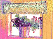 Old Fashion Colors Prints - Flowers In The Country Window Print by Annie Zeno