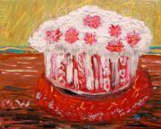 Primitive Raw Art Paintings - Flowers in the Frosting by Mary Carol Williams
