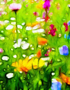 Green Grass Pastels Posters - Flowers in the Garden Poster by Stefan Kuhn
