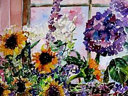 Shed Paintings - Flowers in the Potting Shed by Janet Peters