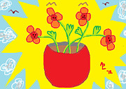 Red Poppies Drawings - Flowers in the Sun by Anita Dale Livaditis