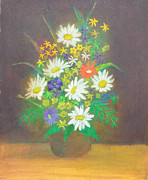 Still Life Photographs Painting Posters - Flowers in vase 1 Poster by Mirek Bialy
