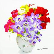 Purple Flowers Digital Art - Flowers in Vase by Anthony Caruso