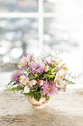 Fresh Flowers Prints - Flowers in vase Print by Elena Elisseeva