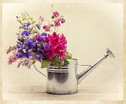Lilacs Posters - Flowers in Watering Can Poster by Edward Fielding